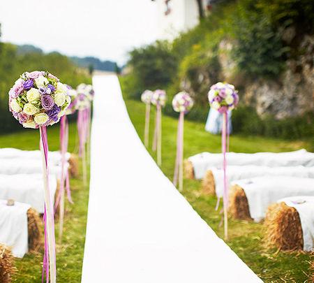 Beispiel: Florale Dekoration, Foto: Hofgut Maisenburg.