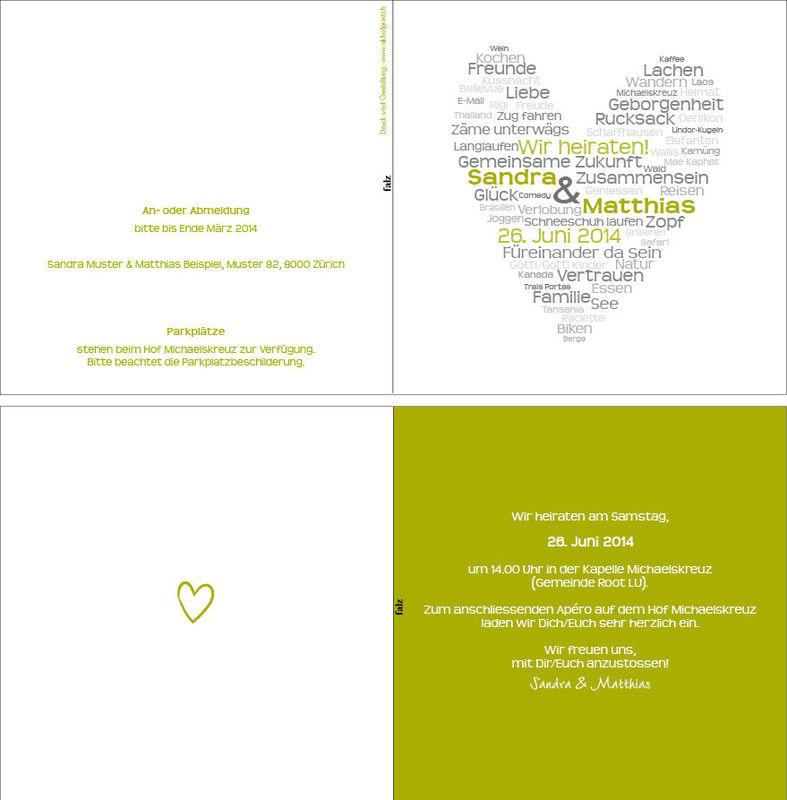 Hochzeitskarte quadratisch 4-seitig, 15,5x15.5 cm., 2-farbig. Foto: AKHOF-Print AG.
