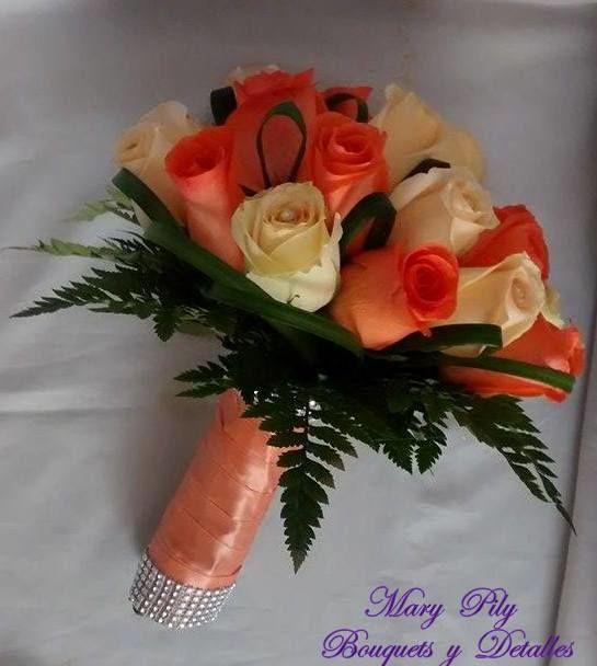 Bouqet de Boda Religiosa en dos colores coral y melon