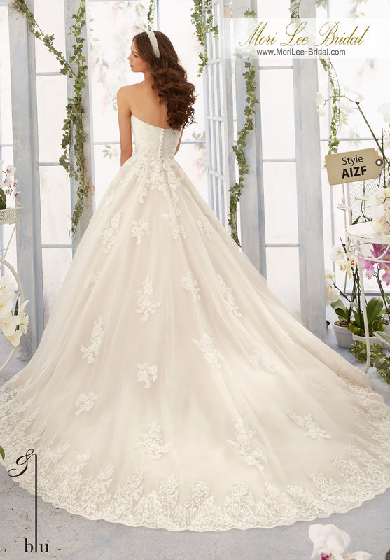 """Dress Style AIZF Alencon Lace Appliques With Crystal Beaded Waistline Onto The Tulle Ball Gown With Wide Scalloped Hemline  Available in Three Lengths: 55"""", 58"""", 61"""". Colors available: White, Ivory, Ivory/Light Gold."""
