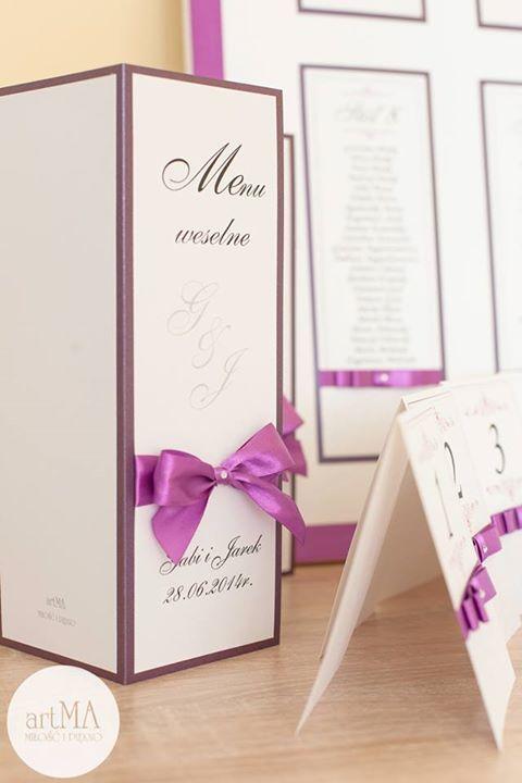 eleganckie Menu weselne i plan stołów