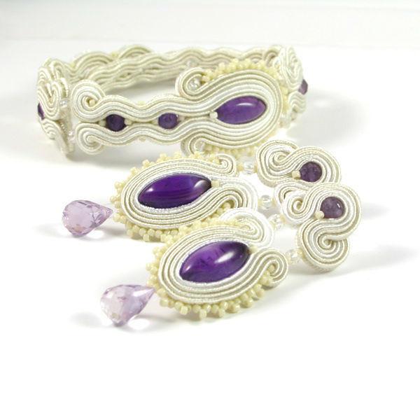 Małgorzata Sowa - PiLLow Design, Biżuteria ślubna sutasz. Komplet ślubny - naturalny ametyst, kryształ górski, sutasz, srebro