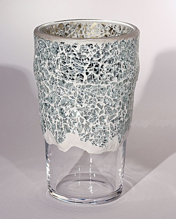 Jarrón de cristal decorado con mosaico de espejo