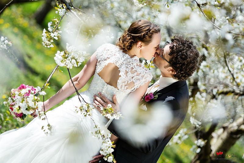 Brautpaarshooting, Kirschblüte, romantisch, stilvolle und edle Hochzeitsfotos, verliebt, romantisch, moderne Brautpaarbilder, Hochzeitskleid, Brautkleid Rücken offen, schickes Brautkleid, Kuss, küssen, Schloss Kartzow Brautpaarbilder