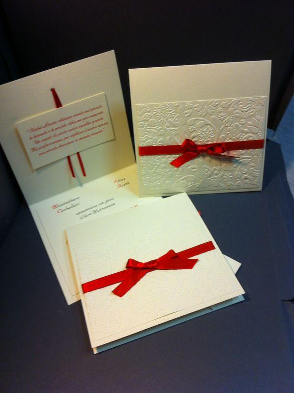 Partecipazione invito matrimonio a tema rosso con rilievi