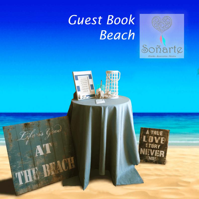 Guest Book Beach · Arriendo de decoración para escribir tarjetas de saludos a los recién casados