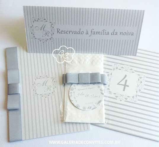 Identidade visual de casamento modelo 86: convite, cartão de reserva de mesa, lágrimas de alegria, numeração de mesa e menu.