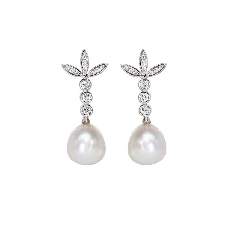 Pendientes de Oro Blanco, Diamantes y Perlas Australianas