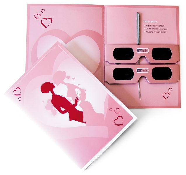 Beispiel: Rosabrille Grußkarte