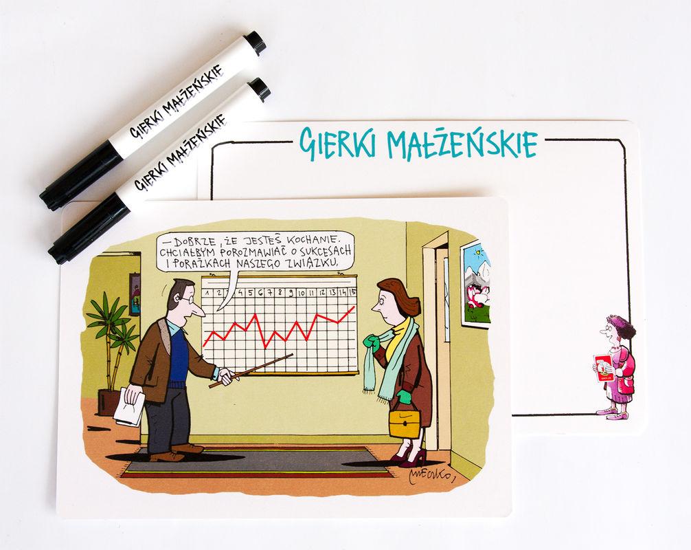 W rozgrywkach pomogą Wam opatrzone humorystycznym rysunkiem Andrzeja Mleczki tabliczki oraz dołączone flamastry