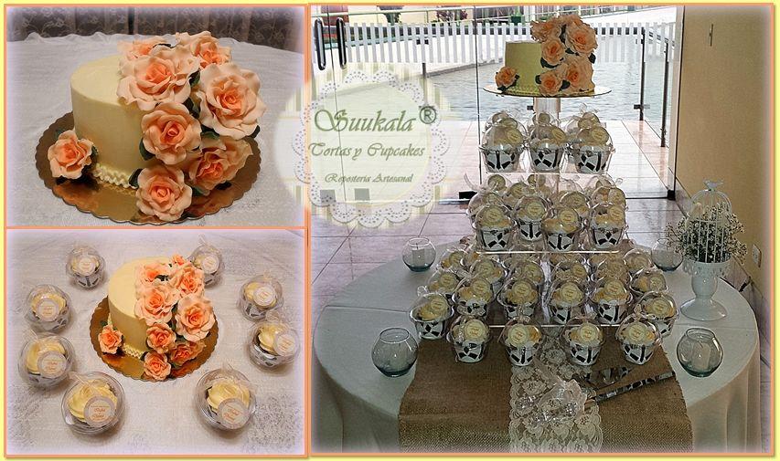 Torre Cupcakes, Torta con buttercream, decorada con roas en porcelana fría. Cake de chocolate relleno de mousse de maracuya.