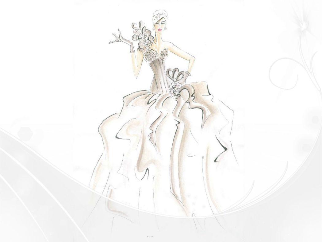 Oky Sposa Atelier: Lo Schizzo del abito da Sposa
