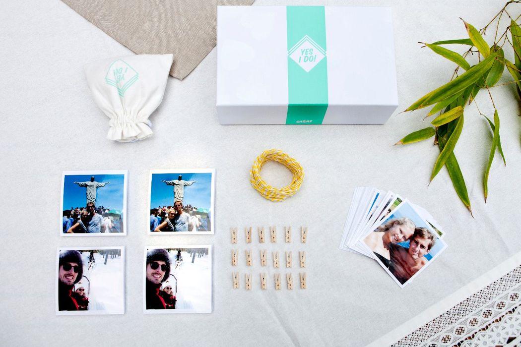 Cheerz - une jolie boîte déco spéciale mariage avec 250 photos et des petits accessoires