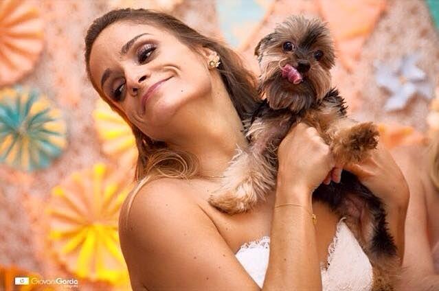 A noiva com seu filho Arthur e nosso backdrop
