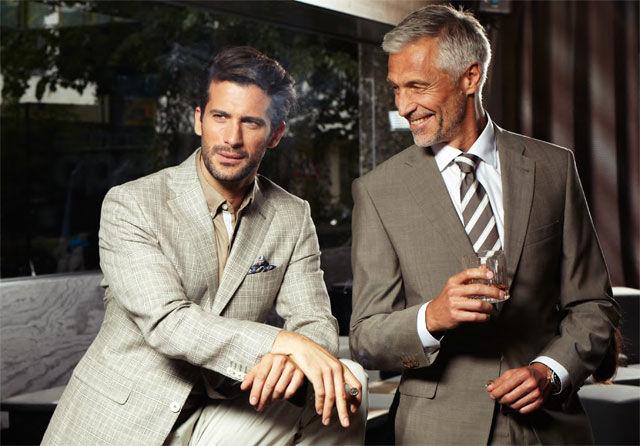 Beispiel: Herrenanzüge in Spitzenqualität, Foto: Bäumler Fashion.