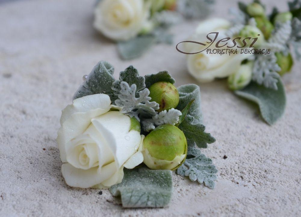 kwiatki do butonierki   #bieliszarosc