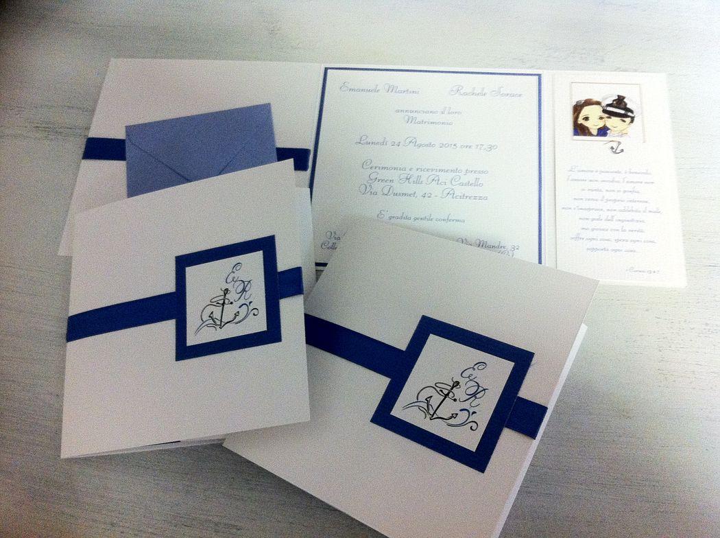 Matrimonio a tema marino, mare e blu. Invito partecipazione nozze mare