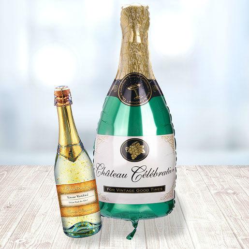 Beispiel: Riesenballon Champagnerflasche, Foto: Valentins.de Blumen & Geschenke.