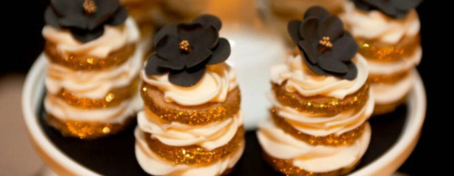 black, white and gold cookies