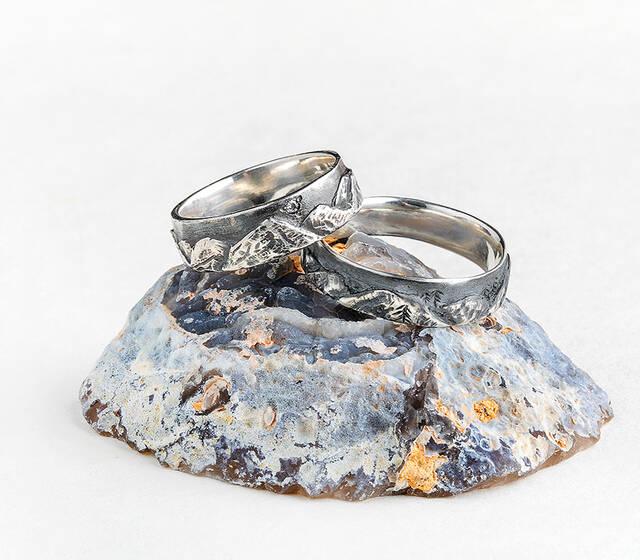 Серебряные обручальные кольца «Горы»