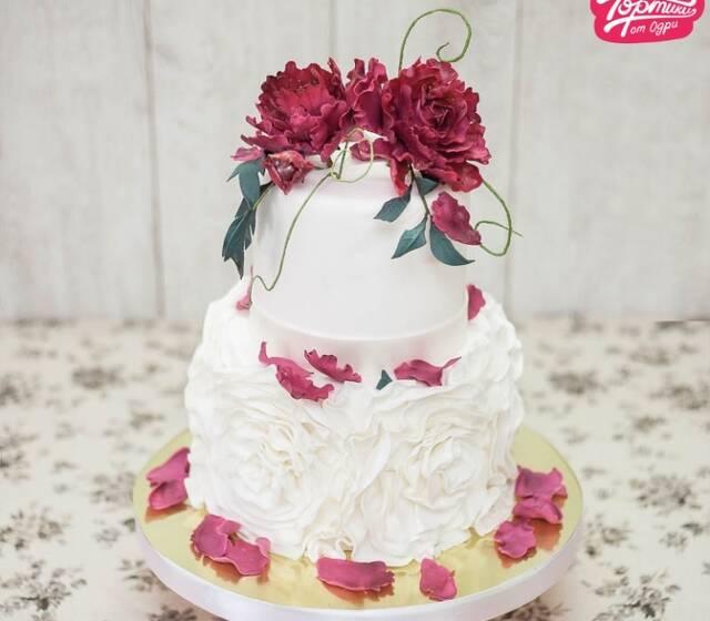 """Свадебный торт """"Красный пион"""""""