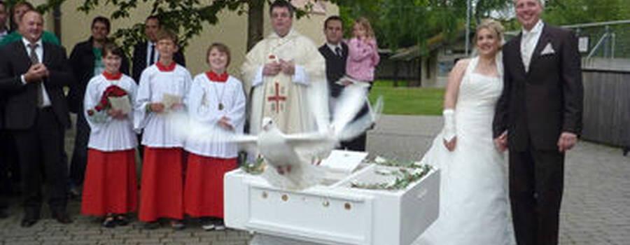 Beispiel: Hochzeitstauben, Foto: Hochzeitstaubenservice Christian Wilhelm.