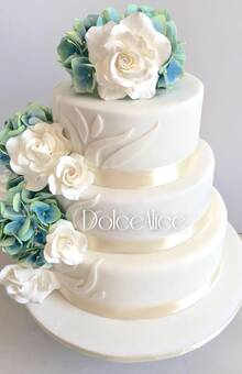 Hydrangeas & White Roses Wedding Cake