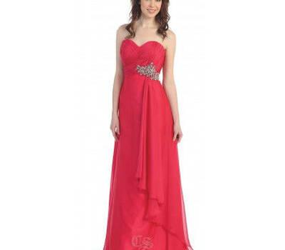 Vestido rojo sin tirantes