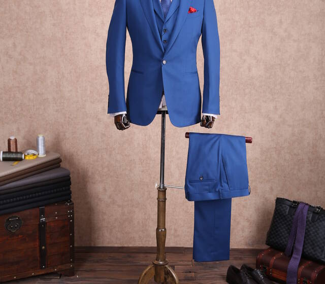 Costume 3 pièces bleu pour mariage