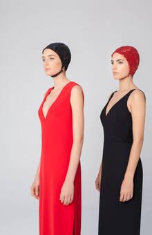 Vestidos de fiesta con cola desmontable de Cristina Piña, colección The Swimmer.