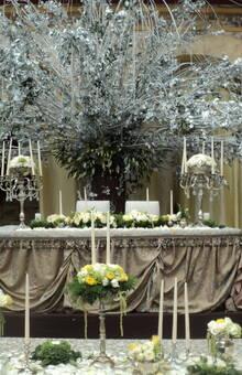 Federico Leon Pinatte - Decorador de Bodas Mesa de Novios en el Camino Real de la ciudad de Puebla. Pusimos un arbol blanco de los deseos con una mesa drapeada y flores haciendo un concepto barroco y ostentoso.
