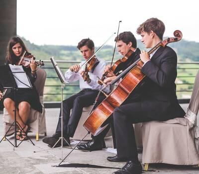 Cuarteto de cuerda Lírice en el Palacio de la Magdalena, Soto del Barco, Asturias.