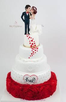 Tort weselny z figurkami