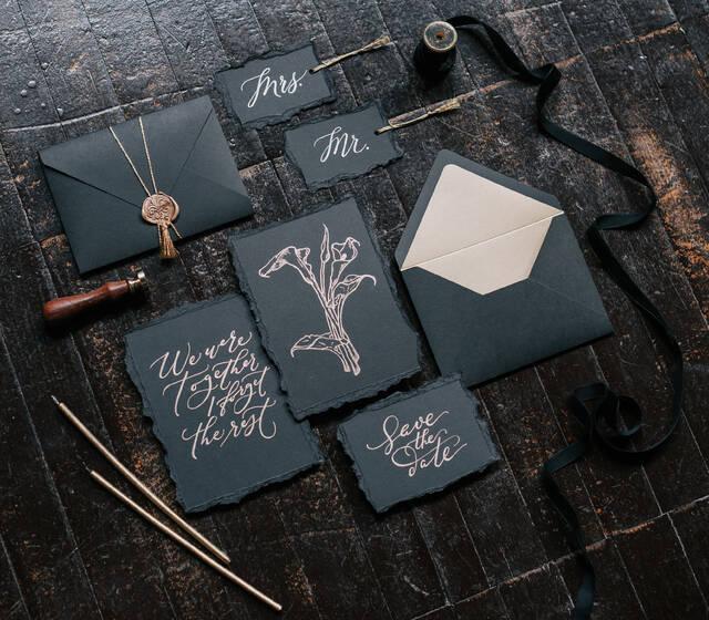 черно-золотой комплект с каллиграфией
