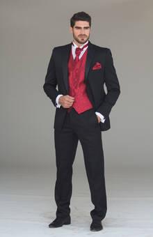 Tuxedo S/Pta. 100% lana Chaleco Rojo