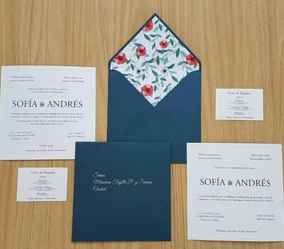 Invitaciones con liner floral