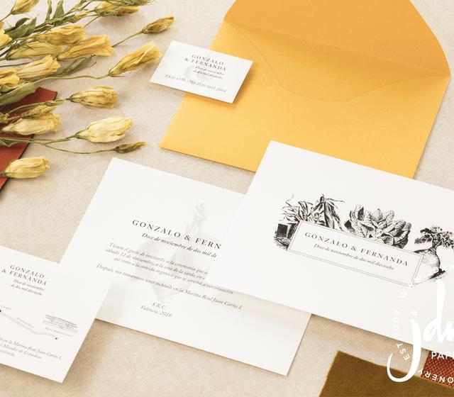 JDN Paper - invitaciones de boda mostaza