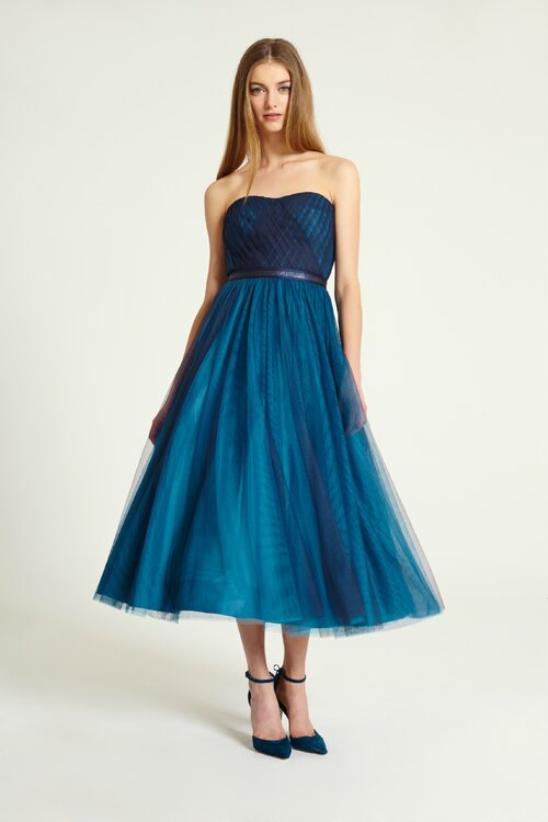 Blue Dresses For The Elegant Wedding Guest Style 443972 ML Monique Lhuillier Fall 2015