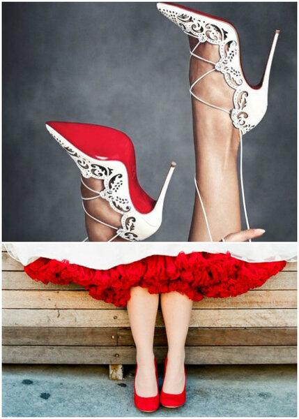Czerwone buty u Panny Młodej, Foto: Christian Loubotin & Feather and Stone Photography