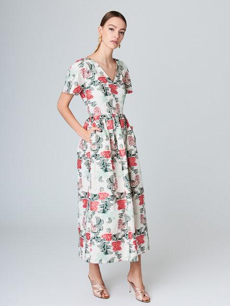 Floral jacquard taffeta A-Line dress. Credits_ Oscar de la Renta