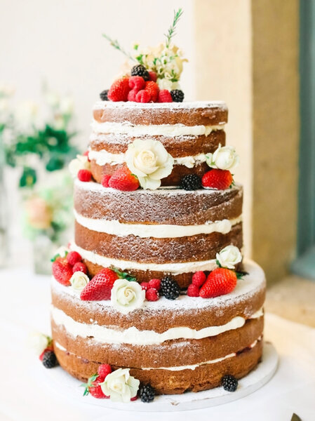 Tarta de boda rústica.