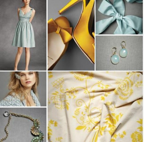 Blue and yellow bridal fashion