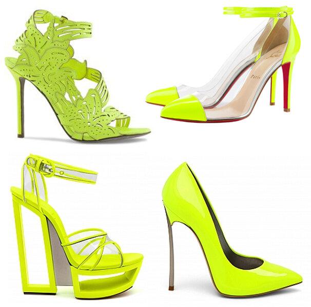Zielone buty na ślub w neonowych oddcieniach