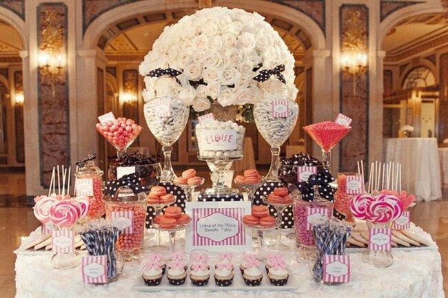 Mesa simétrica con dulces.