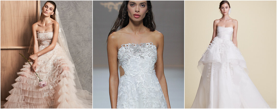 Vestidos de novia palabra de honor. ¡Tradicionales diseños con glamour!