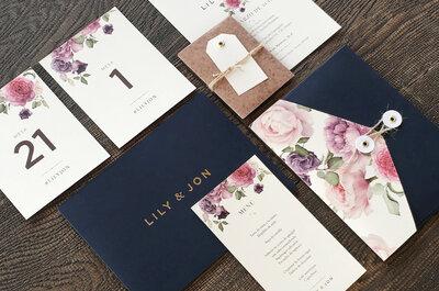 Dale un toque súper especial a tu boda con las invitaciones de Mielú Studio