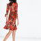 Sukienka w czerwowo brązowe wzorry, Foto: Zara 2015