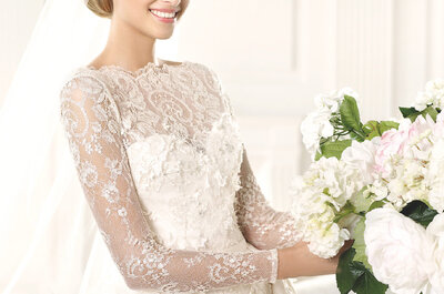 Detalles de encaje, un acento romántico en los vestidos de novia Pronovias 2015