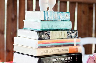 Un delicioso pastel de boda... en forma de libros