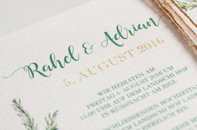 Die Papeterie als i-Tüpfelchen Ihrer Hochzeitsfeier: Von den Einladungen bis hin zu den Menükarten